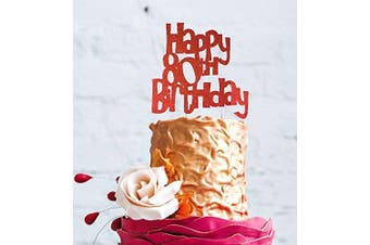 (Red) - LissieLou Happy 80th Birthday Fun Style Cake Topper (Made in UK) - Red