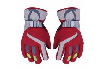 (Red) - AONIJIE Children's Ski Gloves Waterproof Windproof Warm Lining Outdoor Sports Snow Gloves For 5-10 Years Old Boy & Girls