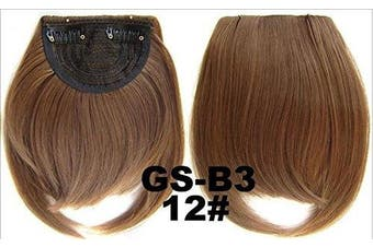 (# 12) - Short Straight Neat Bangs Clip In On Synthetic Hair Extensions Front False Side Fringe Hair Piece Black Brown Blonde White (# 12)