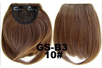 (# 10) - Short Straight Neat Bangs Clip In On Synthetic Hair Extensions Front False Side Fringe Hair Piece Black Brown Blonde White (# 10)