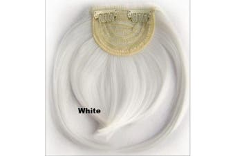 (# white) - Short Straight Neat Bangs Clip In On Synthetic Hair Extensions Front False Side Fringe Hair Piece Black Brown Blonde White (# white)