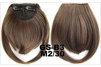 (# M2/30) - Short Straight Neat Bangs Clip In On Synthetic Hair Extensions Front False Side Fringe Hair Piece Black Brown Blonde White (# M2/30)