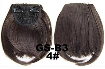 (# 4) - Short Straight Neat Bangs Clip In On Synthetic Hair Extensions Front False Side Fringe Hair Piece Black Brown Blonde White (# 4)