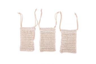 RUIYELE Exfoliating Soap Bags Natural Sisal Soap Saver Pouch Shower Bath Soap Holder Bags, 3 Pcs