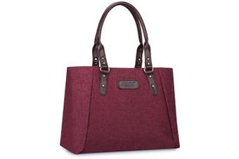 (Wine Red) - S-ZONE Women's Leather Shoulder Handbags Lightweight Large Capacity Tote Bag Durable Casual Bag Work Bag Fashionable Ladies Top-handle Bag