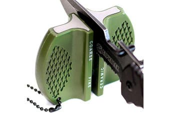 ALPHA TEK Pocket Hunting Knife Sharpener: Tungsten Carbide Ceramic Rod - For Camping and Outdoors
