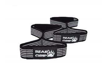 (Black/White) - BEAR GRIP - Premium Figure 8 weight lifting straps (sold in pairs)