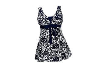 (UK 16-18, Dark Blue) - AMAGGIGO Ladies Polka Bikini Dress Plus Size Swimwear Retro Beachwear Halterneck Swimsuit with Boyshort(FBA)