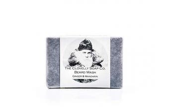 (Ginger & Mandarin, 100g) - Clovelly Soap Co Natural Handmade Beard Shampoo Soap Bar Ginger & Mandarin 100g