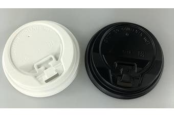 (Black, 100) - 240ml (80mm) Closeable Sip Through PET Plastic Coffee Cup Lids for Paper Coffee Cups - BLACK or WHITE available! (BLACK, 100)