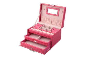 (Rose red) - Jewellery Box, Aulola® Faux Leather Jewellery Case and Display Case 3 Layers with Mirror for Earrings Necklace Jewels Bracelets Organiser Jewellery Storage Box,Girls and Women Gift