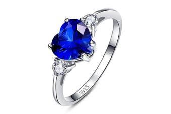 (L 1/2) - Bonlavie Women's 2.25ct Blue Sapphire CZ 925 Sterling Silver 925 Sterling Silver Heart Shaped Promise Ring Anniversary