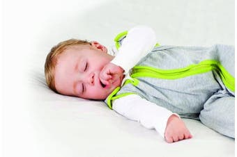 baby deedee Sleep Nest Lite Baby Sleeping Bag, Heather Grey, Lime, Medium, 6-18 Months