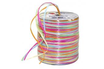 Prasent 50 m Rayon Raffia Spool Ribbon, Pink/ Yellow/ Multi-Colour