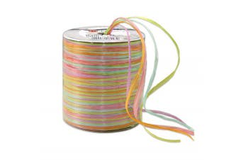 Prasent 50 m Rayon Raffia Spool Ribbon, Water Colour/ Multi-Colour