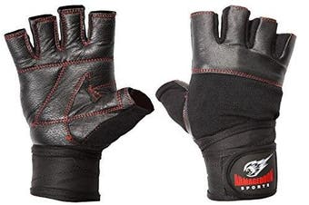 (Black Red Line, Small) - Real Leather Fitness Gloves with Wrist Wraps Armageddon Sports - Perfect for Sport Fitness Gym and Crossfit