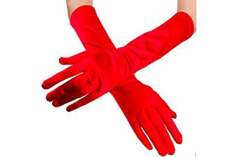 (Red) - Women Ladies Chic Pure Soft Satin Long Glvoes Special Occasions Pageant Halloween Costume Party Evening Wedding Gloves