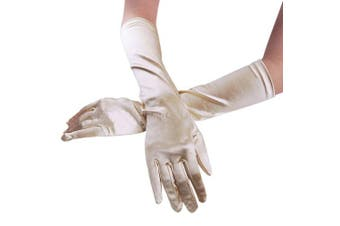 (Champagne) - Women Ladies Chic Pure Soft Satin Long Glvoes Special Occasions Pageant Halloween Costume Party Evening Wedding Gloves