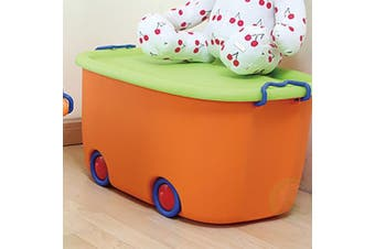 (Large Orange) - Basicwise QI003221 Stackable Toy Storage Box with Wheels,