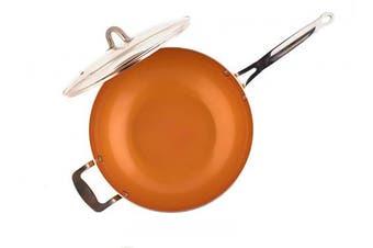 MasterPan Copper tone 30cm Ceramic Non-stick Wok with Lid