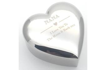 NANA I LOVE YOU TO THE MOON & BACK Silver finish TRINKET BOX Gift Presents Ideas for my Nanas Birthday Christmas Mothers Day Xmas Present Gifts