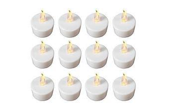 (Yellow) - Babz 12 x FLICKERING LED TEA LIGHT CANDLES TEALIGHT TEA LIGHTS WITH FREE BATTERIES