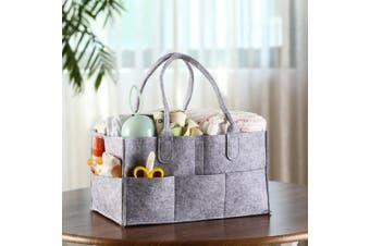 (grey) - Nappy Caddy Organiser, Baby Nappy Caddy, Nursery Storage Basket Bin and Car for Nappies and Baby Wipes, Nappy Bags for Mom, Toys Storage for Child