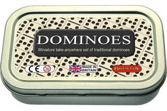 Miniature take-anywhere set of traditional dominoes
