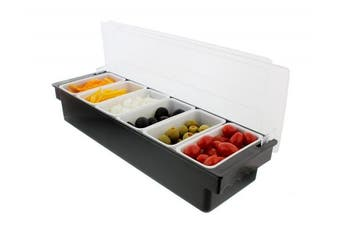 G. Francis | Ice Cooled Condiment Serving Container | Chilled Garnish Tray Bar Caddy for Home Work or Restaurant