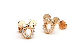Findout rose gold plated sterling silver Cubic Zircons white crystal hollow Mickey Mouse earrings .for women girls (f1784)
