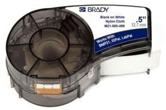 Brady M21-500-499 16' Length, 1.3cm Width, B-499 Nylon Cloth, Black On White Colour, BMP 21 Mobile Printer ID PAL And LABPAL Printer Label