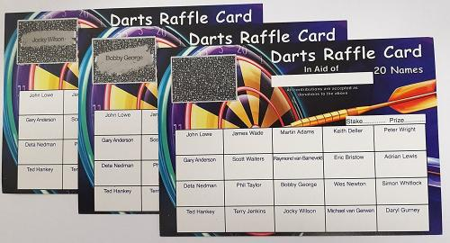 CHARITY DARTS TEAM FUNDS x50 DARTS 20 SQUARE SCRATCH CARDS FUNDRAISING CARDS