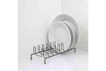 Home Basics Heavyweight Plate Organiser Rack, Black Onyx