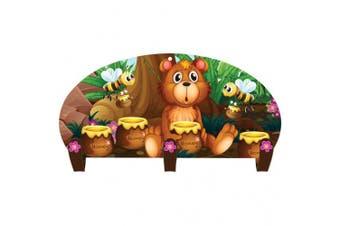 (3 Hooks (Kids), Honey Bear) - Next Innovations Kids Coat Rack Wall Mounted Three Hook Honey Bear Coat Rack