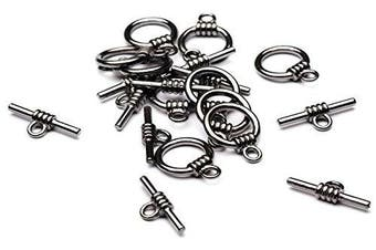 Beads Unlimited 13 mm Metal Round Toggle, Pack of 10, Black Antique