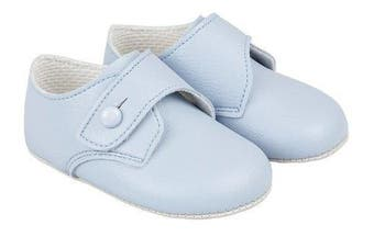(12-18_months, Blue Matt) - BNIB Made in England baby boys Baypod first pram shoes in blue FREE UK POSTAGE