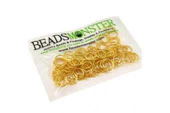 (10mm, Gold) - BeadsMonster Jewellery Findings Jump rings for Jewellery design and Making , Gold Colour, 10mm, 20g