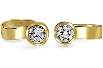 Bling Jewellery Gold Plated Modern Bezel Set CZ Sterling Silver Ear Cuff Wrap 4mm