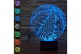 (Basketball 3D Lamp) - Christmas Gift Basketball 3D Illusion Night Light Beside Table Lamp, Jawell 7 Colours Auto Changing Touch Switch Desk Decoration Birthday Present with Acrylic Flat & ABS Base & USB Cable