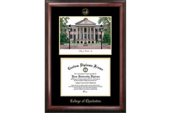 College of Charleston 50cm x 41cm Gold Embossed Diploma Frame with Campus Images Lithograph
