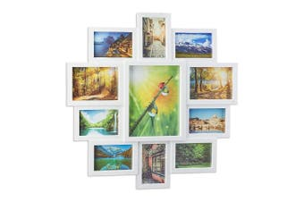 (White) - Relaxdays Picture Frame Collage, Photo Gallery for 11 Pictures, Hanging Frame, Multi Photo, White