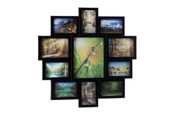 (Black) - Relaxdays Picture Frame Collage, Photo Gallery for 11 Pictures, Hanging Frame, Multi Photo, Black