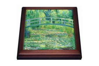 3dRose Famous Monets Water Lillies With Lavender Frame, Trivet with Ceramic Tile, 20cm by 20cm