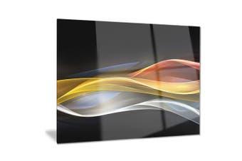 (28x12) - Design Art 3D Gold Silver Wave Design-Abstract Digital Art Metal Wall Art-MT8222-28x12, 28x12