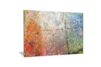 (28x12) - Design Art Board Stained Abstract Metal Wall Art-MT6548-28x12, Orange, 28x12