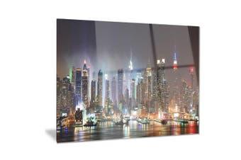 (28x12) - Design Art Lit Nyc Manhattan Skyline-Cityscape Photo Metal Wall Art-MT8281-28x12, 28x12