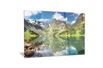 (28x12) - Design Art Reflecting Mountain Lake-Landscape Metal Wall Art-MT6083-28x12, Green, 28x12