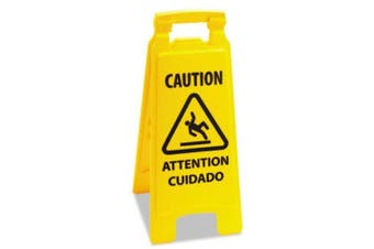 Boardwalk 3485217 Caution Safety Sign For Wet Floors, 2-sided, Plastic, 11x1-1/2x26, Yellow
