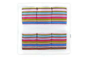 (MAGENTA STRIPES) - COT Tidy Organiser COT Bed Nursery Hanging Storage Many Designs 6 Pockets BABYMAM (Magenta Stripes)