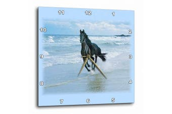 3dRose Black Horse Racing On Ocean Beach, Wall Clock, 38cm by 38cm